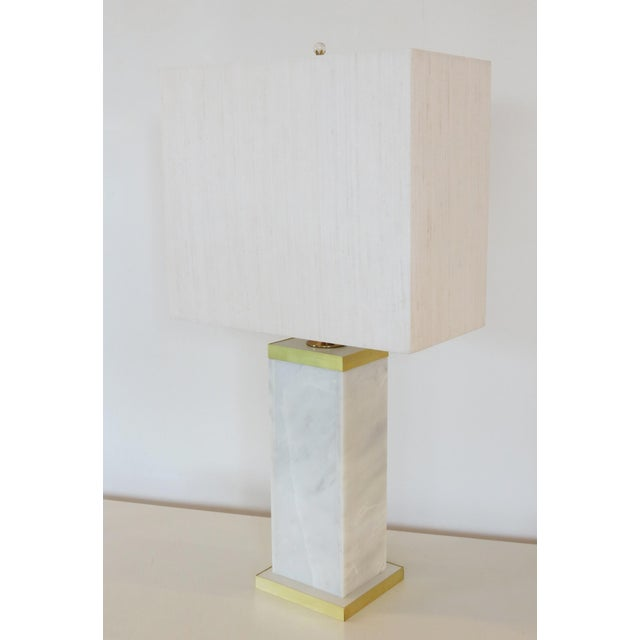 Custom Marble and Brass Lamp by C. Damien Fox - Image 9 of 9