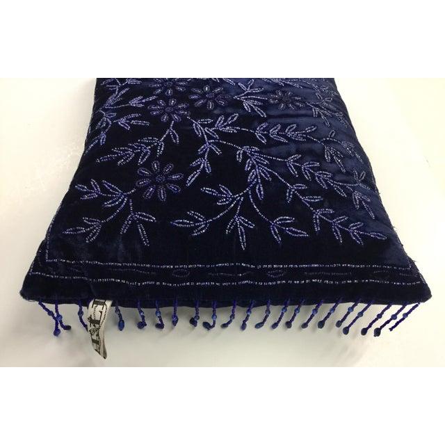 Art Deco Panne Velvet Beaded and Fringe Throw Pillow For Sale - Image 3 of 10