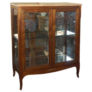 1900s French Walnut Display Cabinet For Sale