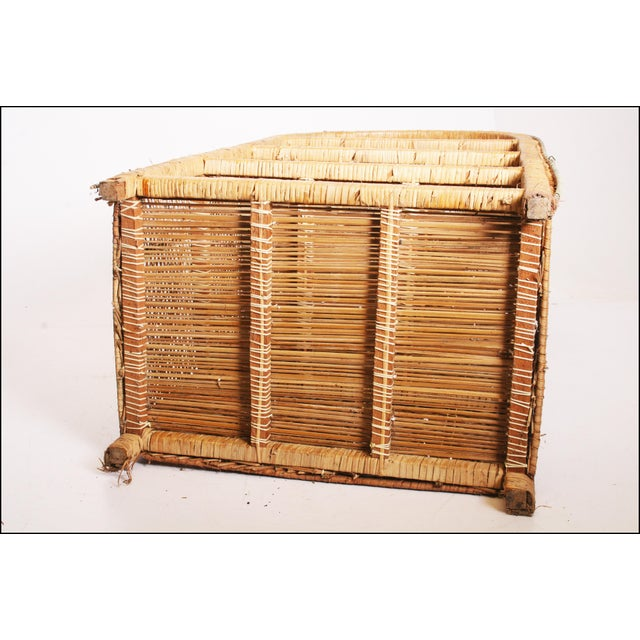 Vintage Boho Chic Wicker Bookcase with Dome Top For Sale - Image 11 of 11