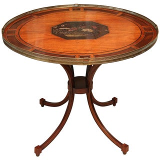 19th C. English Regency Table With Coromandel Inset Plaque For Sale