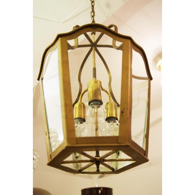 Gold Large Viennese Art Nouveau hanging lamp, 1965 For Sale - Image 8 of 11
