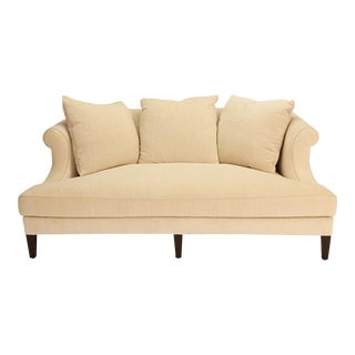 Nancy Corzine Sanford African Walnut Chenille Silk Sofa Couch For Sale