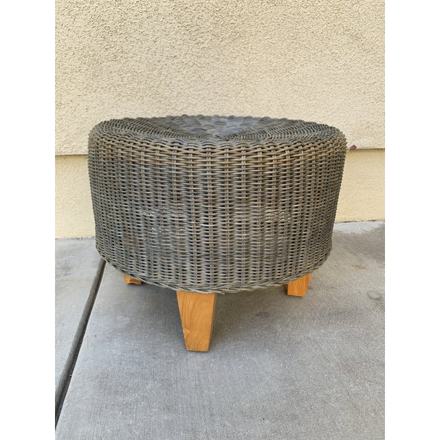 Rustic Wicker Wood Ottoman Footstool For Sale - Image 10 of 10