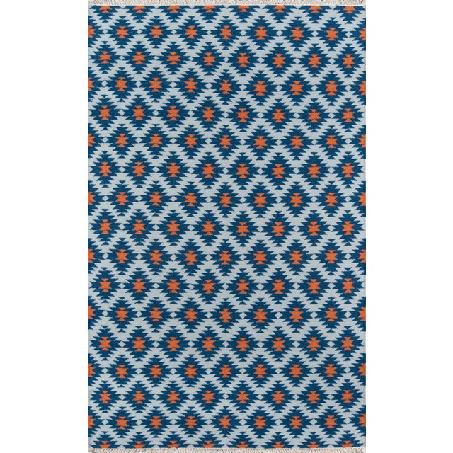 "2010s Erin Gates Thompson Newbury Navy Hand Woven Wool Area Rug 3'6"" X 5'6"" For Sale - Image 5 of 5"