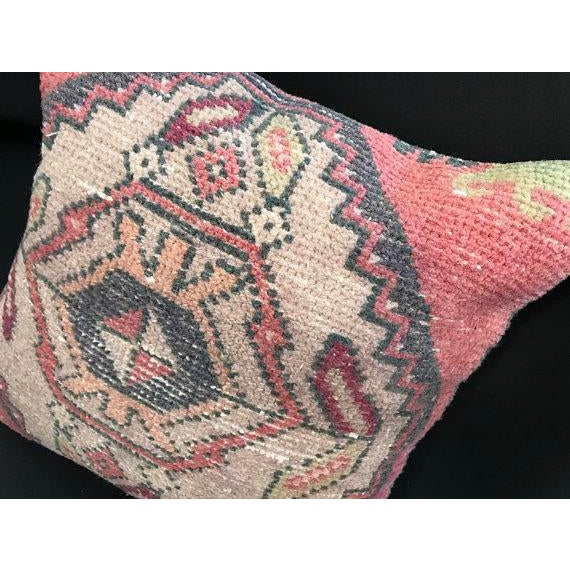 Textile 1960's Turkish Tribal Handwoven Oushak Pillow For Sale - Image 7 of 11