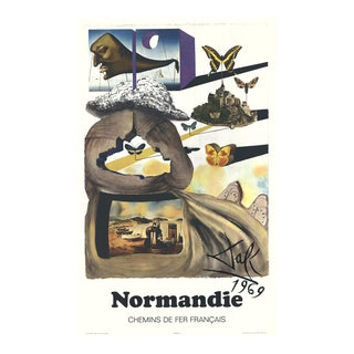 """Salvador Dali Normandie 39"""" X 24.25"""" Poster 1970 Surrealism Brown, Yellow Butterflies, House, Boats, Beach For Sale"""