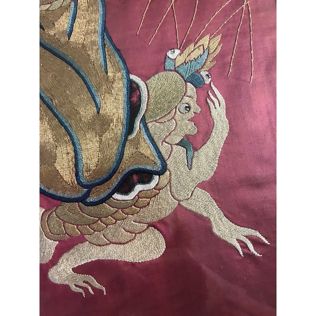 Antique Chinese Embroidered Mythological Wall Hangings, Panels on Silk - a Pair For Sale - Image 4 of 9
