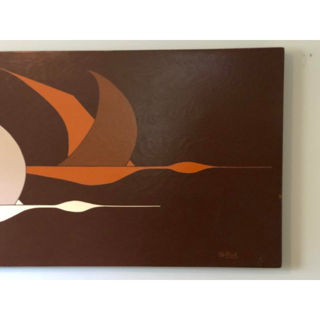 Large Midcentury Painting of Flying Geese For Sale In Atlanta - Image 6 of 11