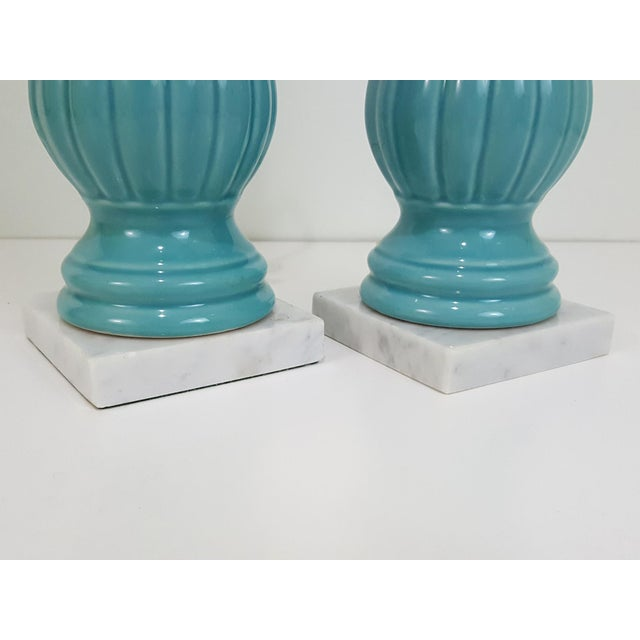 Blue Mid-Century Modern Aqua Blue Pottery Lamps With Chartreuse Shades, a Pair For Sale - Image 8 of 10