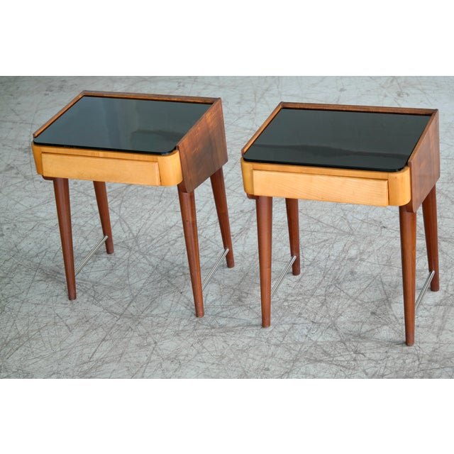 Pair of Danish Midcentury Nightstands in Teak and Elm With Black Glass Top For Sale - Image 11 of 11
