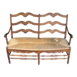 Vintage Rush Wood Provencal French Love Seat For Sale