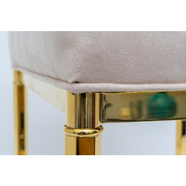 Vintage Mastercraft Benches Stools Brass and Ultrasuede - a Pair For Sale - Image 10 of 13