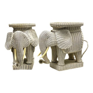 Pair of Large Scale Wicker Elephant Side Tables For Sale