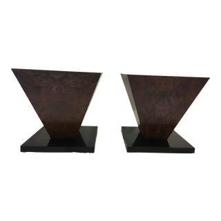 Modernist Burl Drinks Tables - A Pair