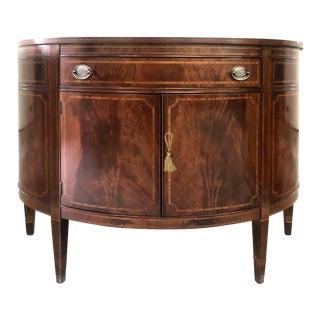 Vintage American Federal Hepplewhite Mahogany Demi-Lune Cabinet For Sale