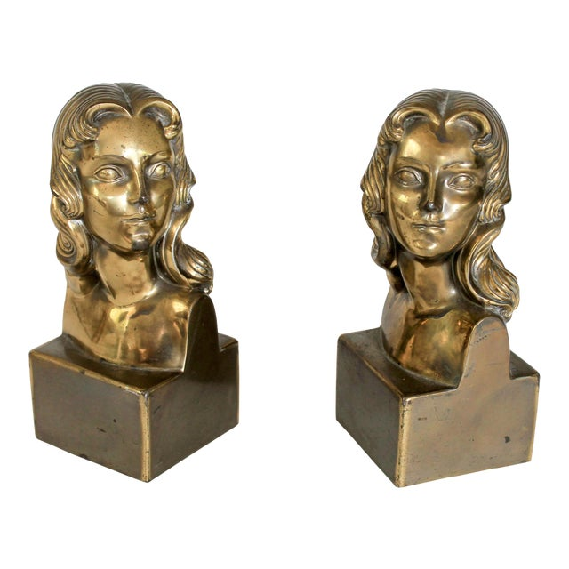 Female Brass Bookends For Sale