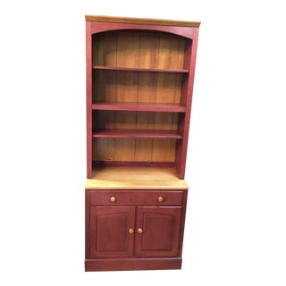 Ethan Allen Red Painted Bookcase For Sale