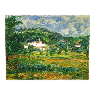 Vintage Oil on Canvas Île-De-France Landscape For Sale