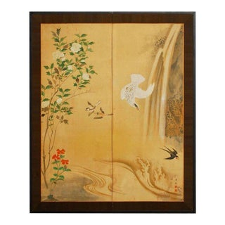 19th Century Japanese Edo Period Two-Panel Hawk Screen