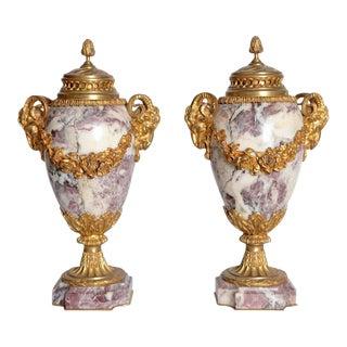 Louis XVI Style Marble Cassolettes With Gilt Bronze Mounts - a Pair For Sale