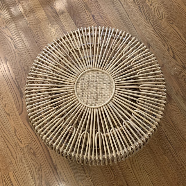Franco Alibini style rattan side table/ottoman. Natural rattan. Indoor and covered outdoor safe.