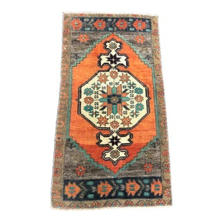 Antique Turkish Anatolian Decorative Small Rug - 1′6″ × 3′ For Sale