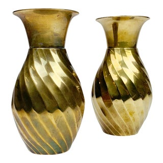 Hand Hammered Solid Brass Vases India, 20th Century - a Pair For Sale