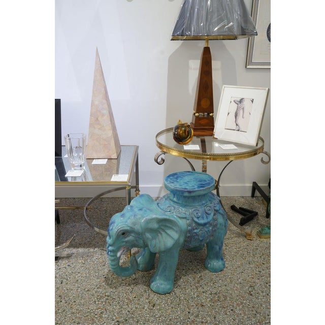 Mid-Century Elephant Figure Garden Stool or Drinks Table Blue Glazed Terra Cotta From Italy For Sale - Image 10 of 11