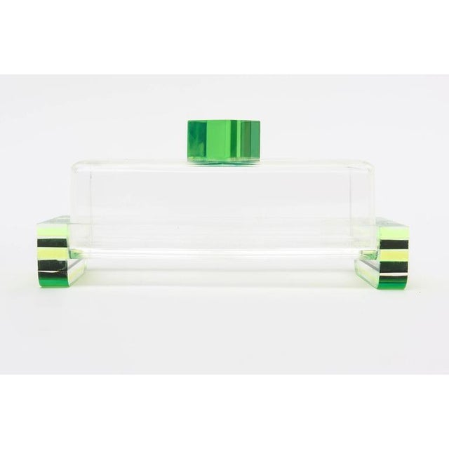 Plastic Charles Hollis Jones Style Colored Lucite Two Part Box For Sale - Image 7 of 9