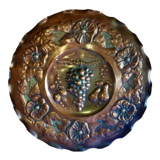 Vintage Secessionist Hand-Hammered Copper Wall Plaque For Sale