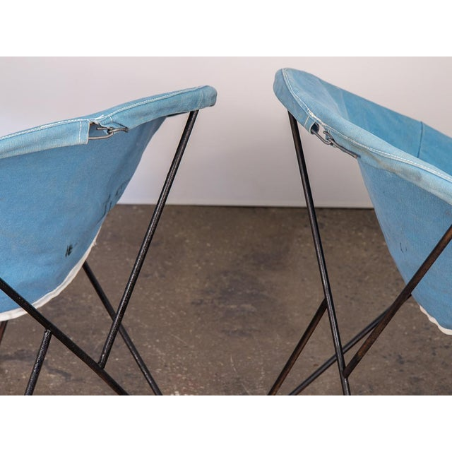 1960s Outdoor Blue Hoop Chairs - A Pair For Sale - Image 5 of 10