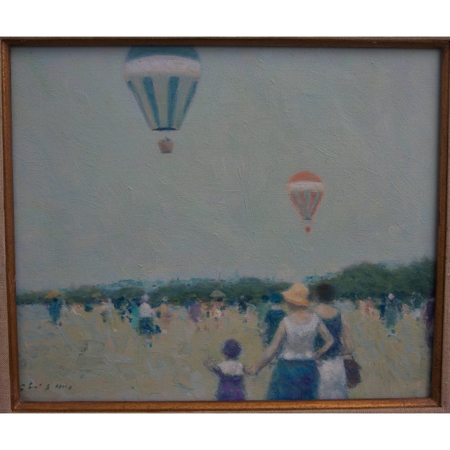 """Figurative """"Hot Air Balloons at French Beach"""" Oil on Canvas Painting by Andre Gisson For Sale - Image 3 of 7"""