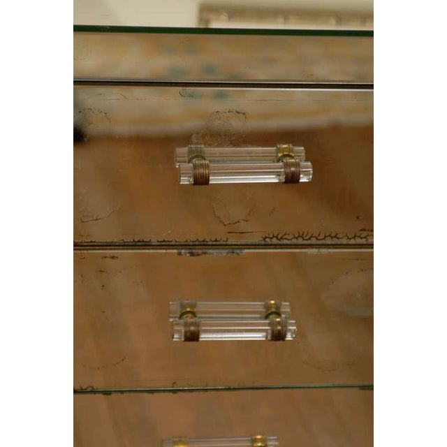 Silver Mirrored Art Deco Three Drawer Chest with Brass Accents For Sale - Image 8 of 9