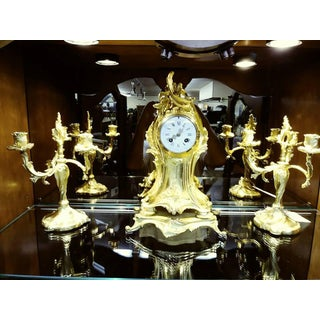 Antique French Rococo Gilded Clock and Candelabra Set - 3 Pieces Preview