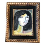 Image of Original Stewart Ross Modernist Abstract Female Portrait Painting For Sale