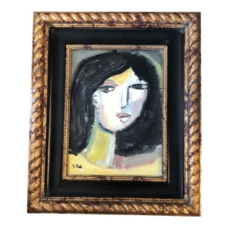 Original Stewart Ross Modernist Abstract Female Portrait Painting For Sale