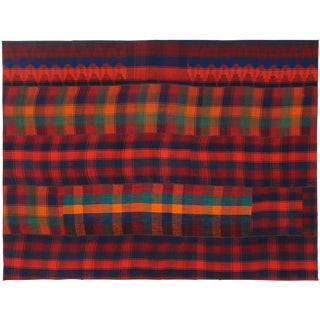 Vintage Tartan Plaid Area Rug With Rustic Charm and Ralph Lauren Style, 7'3 X 9'7 For Sale