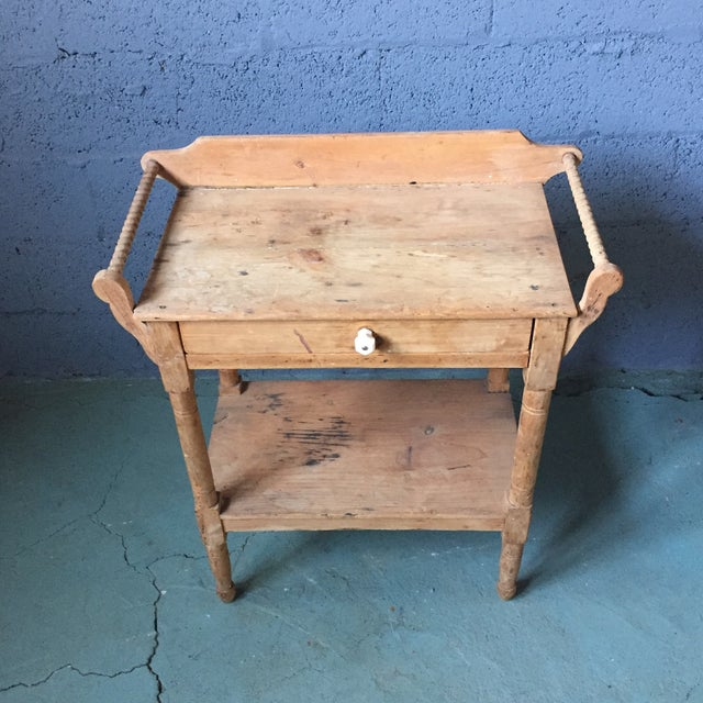 Country Antique Pine & Milk Glass Washstand For Sale - Image 3 of 11