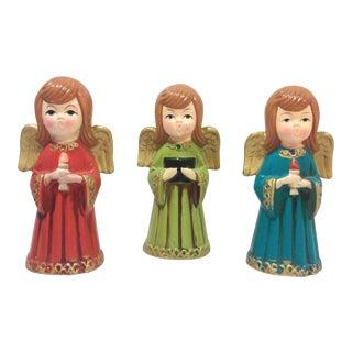 Vintage Caroling Angels Tabletop Ornaments - Set of 3 For Sale
