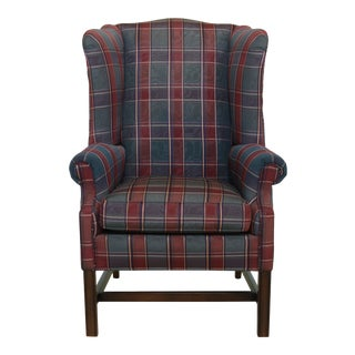Ethan Allen Plaid Print Upholstered Chippendale Wing Chair For Sale