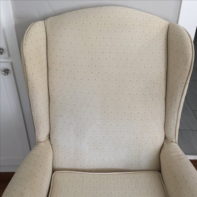 Vintage Ivory Wingback Chair - Image 4 of 8