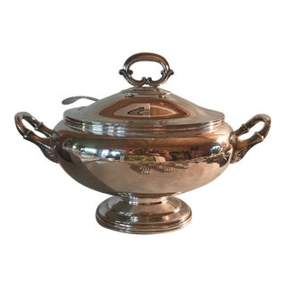 Antique English Silver Soup Tureen & Ladle For Sale