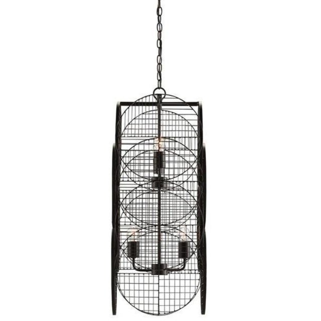 Japanese inspired Currey & Co. Marugoushi Chandelier, metal in a black satin finish, over layer geometric design, showroom...