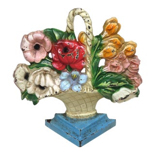 Vintage Hubley Cast Iron Flower Basket Doorstop For Sale