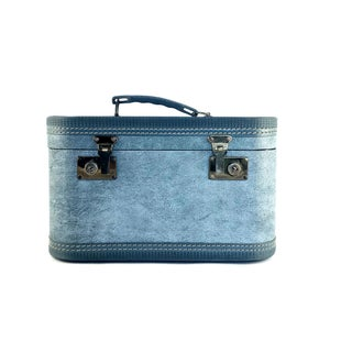 1960s Mid-Century Modern Blue Train Case With Brass Accents Preview