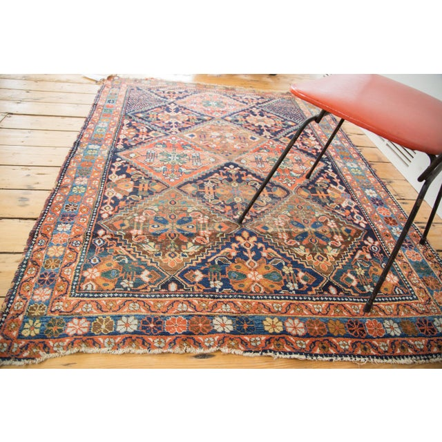 "Antique Distressed Afshar Square Rug - 4'4"" X 5'7"" - Image 2 of 9"