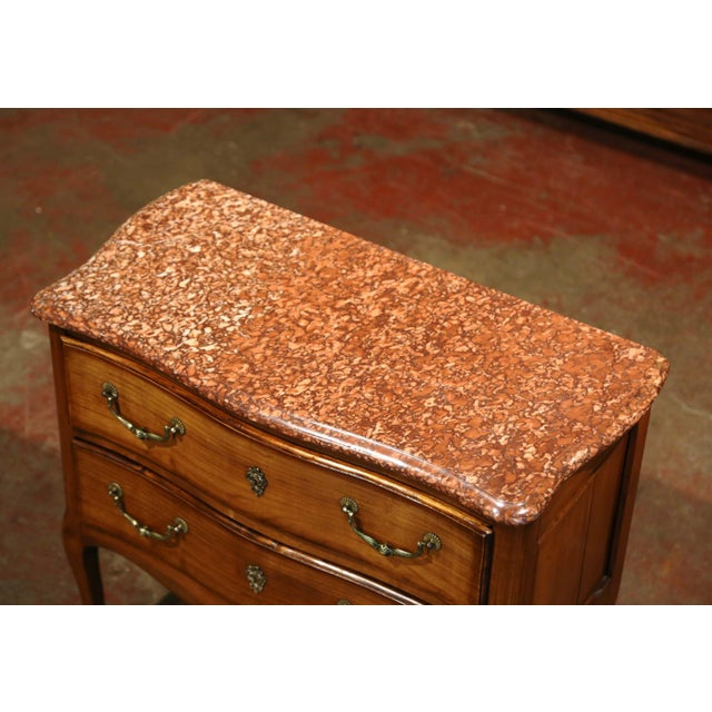 French French Carved Walnut Chest of Drawers With Red Marble Top For Sale - Image 3 of 9