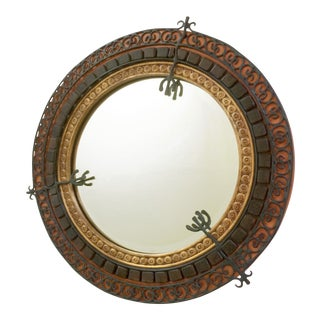 Maitland-Smith Round Accent Wall Mirror With Black Iron Scroll Work For Sale