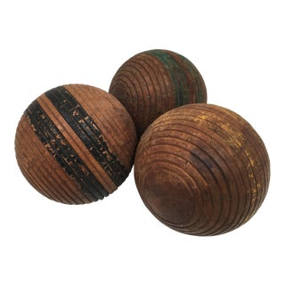1950s Traditional Ribbed Wood Croquet Balls - Set of 3